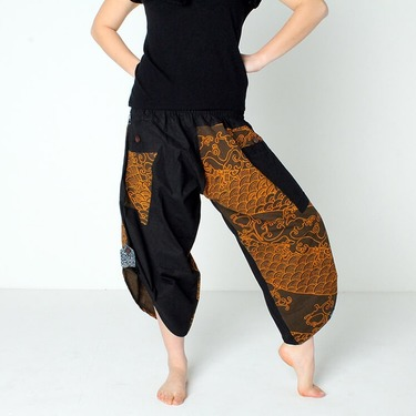 Dapper Koi Gold Harem Pantalones Anchos Ghodo - 3