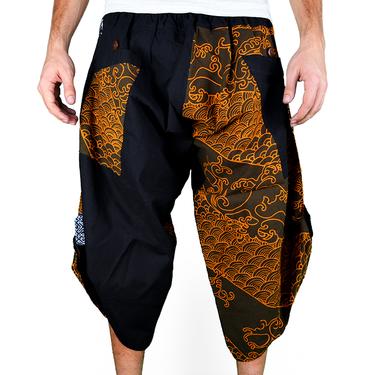 Dapper Koi Gold Harem Pantalones Anchos Ghodo - 2