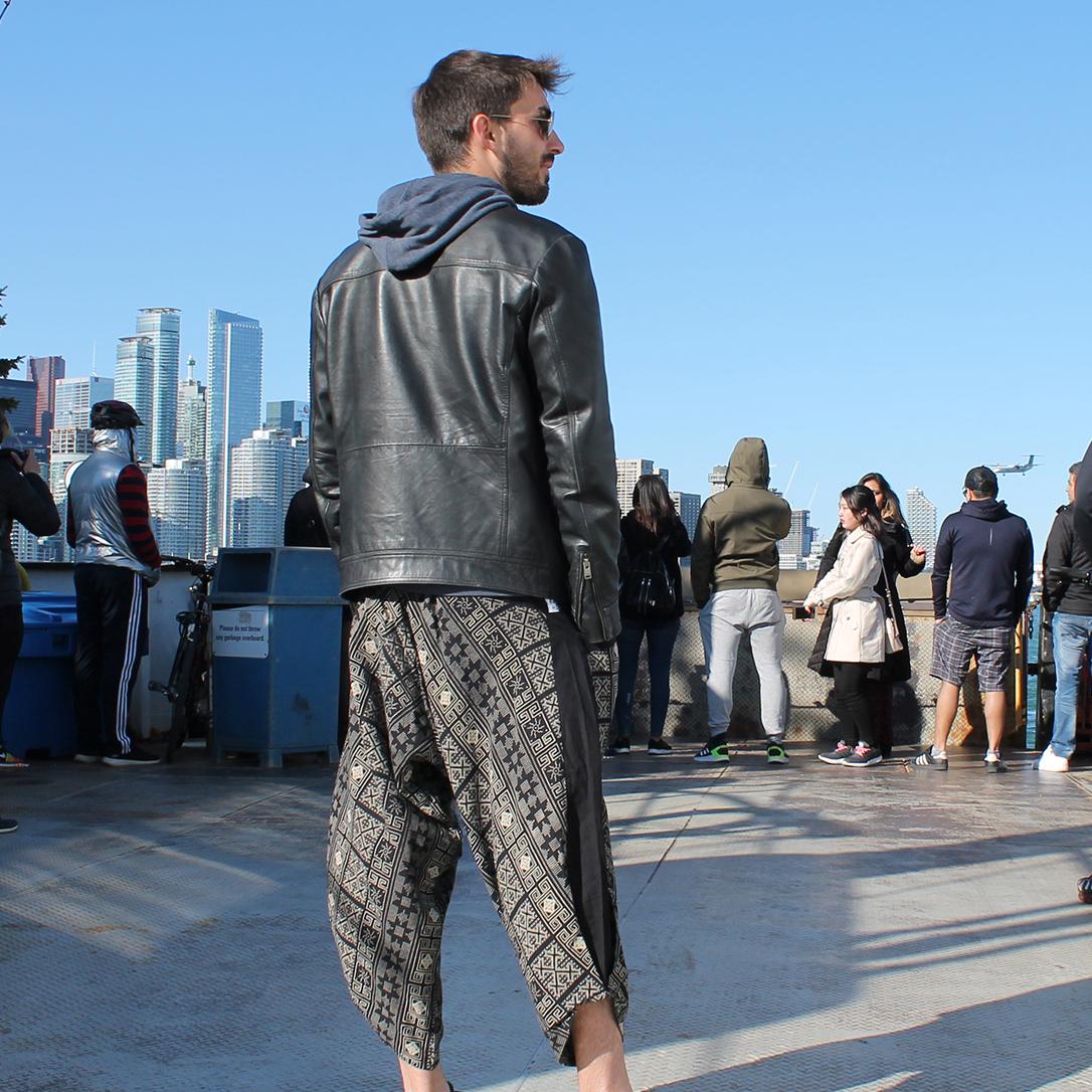 Pantalone Largo Uomo con giacca in pelle